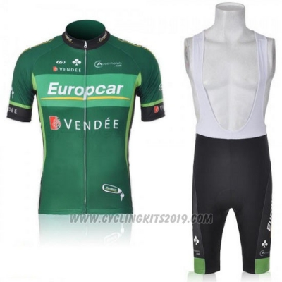 2011 Cycling Jersey Europcar Green Short Sleeve and Bib Short