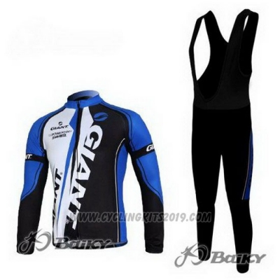 2011 Cycling Jersey Giant Blue Black Long Sleeve and Bib Tight