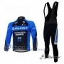 2011 Cycling Jersey Giant Blue and Black Long Sleeve and Bib Tight