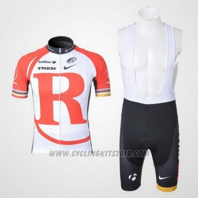 2011 Cycling Jersey Radioshack White and Red Short Sleeve and Bib Short