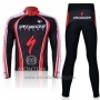 2011 Cycling Jersey Specialized Red and Black Long Sleeve and Bib Tight