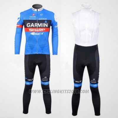 2012 Cycling Jersey Garmin Sharp Sky Blue Long Sleeve and Bib Tight