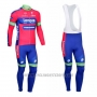 2012 Cycling Jersey Lampre Merida Pink and Sky Blue Long Sleeve and Bib Tight