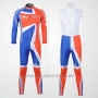 2012 Cycling Jersey Sky Campione Regno Unito Orange and Blue Long Sleeve and Bib Tight
