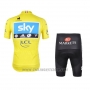 2012 Cycling Jersey Sky Lider Sky Blue and Yellow Short Sleeve and Bib Short