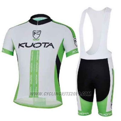 2013 Cycling Jersey Kuota White and Green Short Sleeve and Bib Short