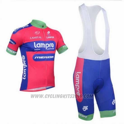 2013 Cycling Jersey Lampre Merida Pink and Sky Blue Short Sleeve and Bib Short