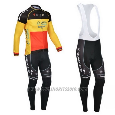 2013 Cycling Jersey Omega Pharma Quick Step Campione Belgium Long Sleeve and Bib Tight