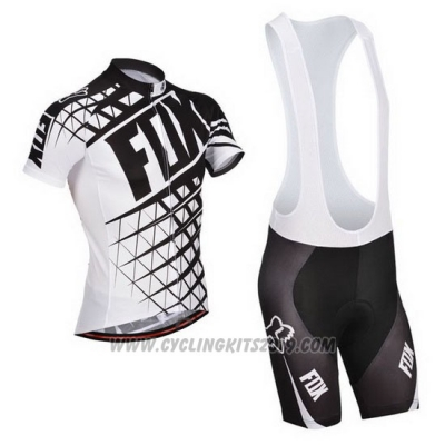 2014 Cycling Jersey Fox White and Black Short Sleeve and Bib Short