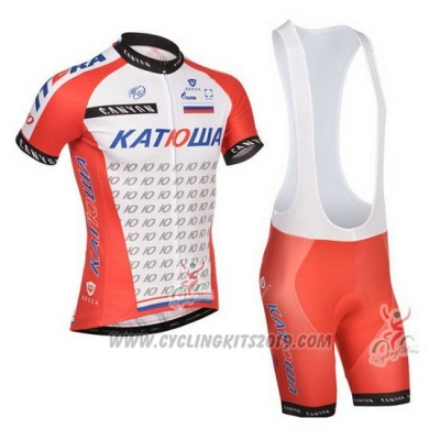 2014 Cycling Jersey Katusha White and Red Short Sleeve and Bib Short