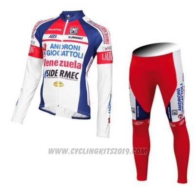 2015 Cycling Jersey Androni Giocattoli White Long Sleeve and Bib Tight