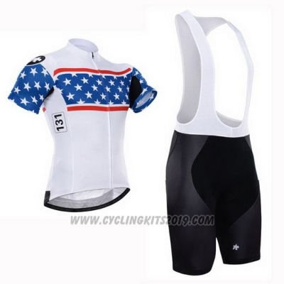 2015 Cycling Jersey Assos White and Blue Short Sleeve and Bib Short