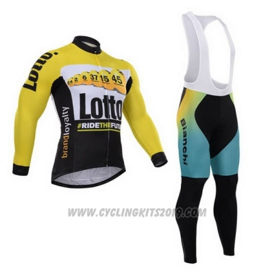 2015 Cycling Jersey Lotto NL Jumbo Black and Yellow Long Sleeve and Bib Tight