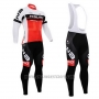 2015 Cycling Jersey Nalini Red and White Long Sleeve and Salopette
