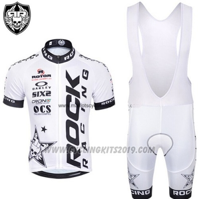 2015 Cycling Jersey Rock Racing Black and White Short Sleeve and Bib Short
