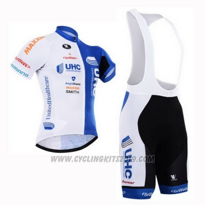 2015 Cycling Jersey UHC White and Sky Blue Short Sleeve and Bib Short