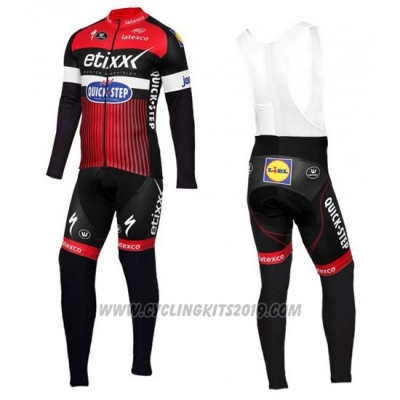 2016 Cycling Jersey Etixx Quick Step Red and Black Long Sleeve and Bib Tight
