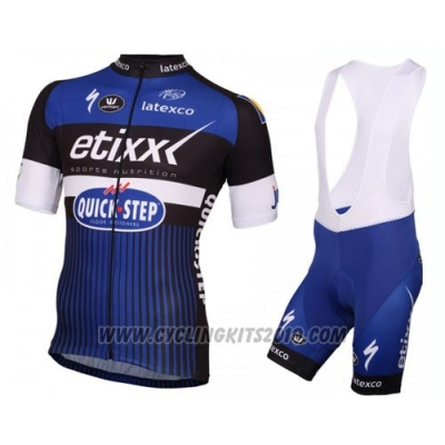 2016 Cycling Jersey Etixx Quick Step White and Blue Short Sleeve and Bib Short