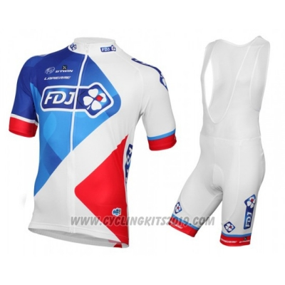 2016 Cycling Jersey FDJ White and Red Short Sleeve and Bib Short