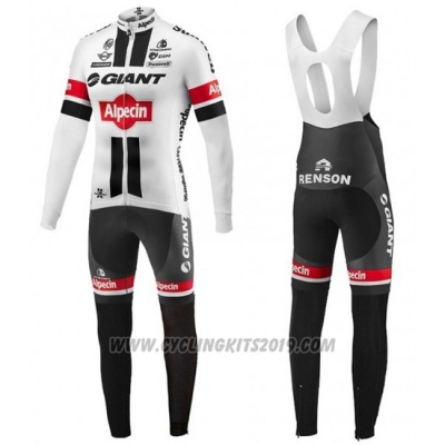 2016 Cycling Jersey Giant Alpecin Black and White Long Sleeve and Bib Tight