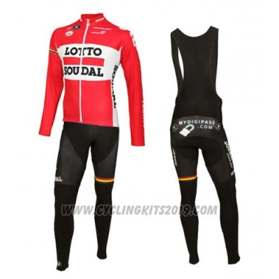 2016 Cycling Jersey Lotto Soudal White and Red Long Sleeve and Bib Tight