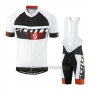 2016 Cycling Jersey Scott White Black Short Sleeve and Salopette