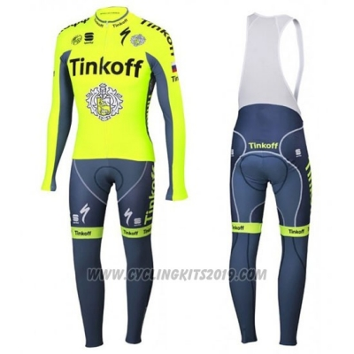 2016 Cycling Jersey Tinkoff Green and Gray Long Sleeve and Bib Tight