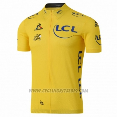 2016 Cycling Jersey Tour de France Yellow Short Sleeve and Bib Short