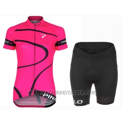 2016 Cycling Jersey Women Pinarello Black and Fuchsia Short Sleeve and Bib Short