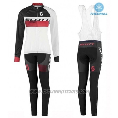 2016 Cycling Jersey Women Scott White and Black Long Sleeve and Bib Tight