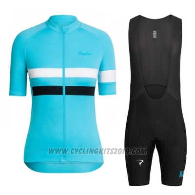 2016 Cycling Jersey Women Sky Blue and White Short Sleeve and Bib Short