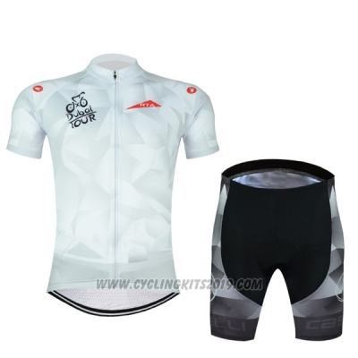 2017 Cycling Jersey Abu Dhabi Tour White and Red Short Sleeve and Bib Short