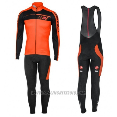 aa67d8eebce1d 2017 Cycling Jersey Castelli Orange and Black Long Sleeve and Bib Tight