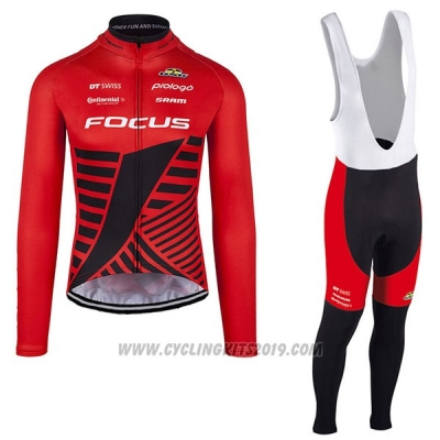 2017 Cycling Jersey Focus XC Ml Deep Red Long Sleeve and Bib Tight
