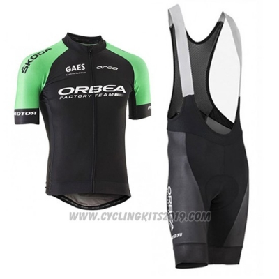 2017 Cycling Jersey Orbea Black and Green Short Sleeve and Bib Short