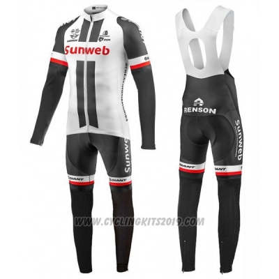 2017 Cycling Jersey Sunweb White Long Sleeve and Bib Tight