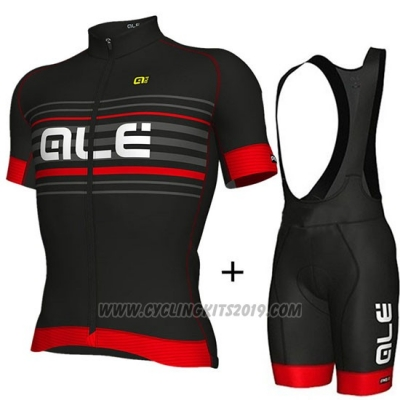2018 Cycling Jersey ALE Black and Red Short Sleeve and Bib Short