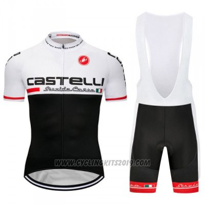 2018 Cycling Jersey Castelli White Black Short Sleeve and Bib Short