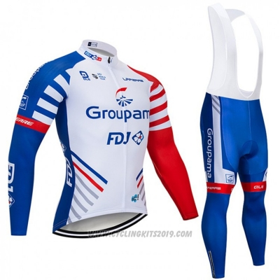 2018 Cycling Jersey Groupama FDJ White Blue Red Long Sleeve and Bib Tight