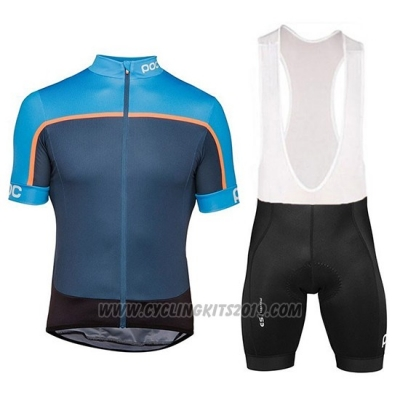 2018 Cycling Jersey POC Essential Road Block Blue Short Sleeve and Bib Short