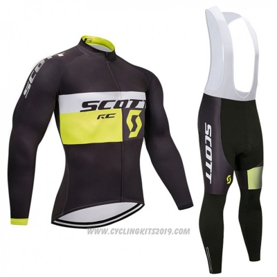 2018 Cycling Jersey Scott Black and White Long Sleeve and Bib Tight