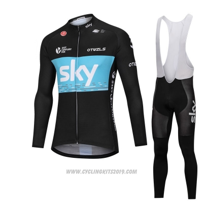 2018 Cycling Jersey Sky Black and Blue Long Sleeve and Bib Tight