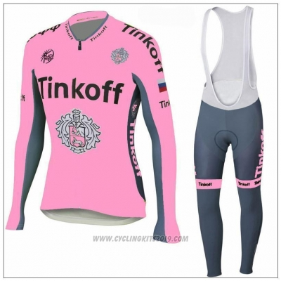 2018 Cycling Jersey Tinkoff Pink Long Sleeve and Bib Tight