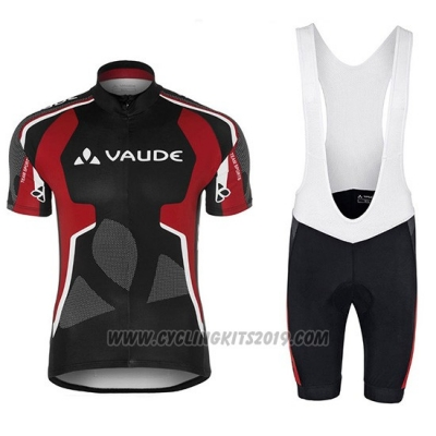 2018 Cycling Jersey Vaude Black and Red Short Sleeve and Bib Short