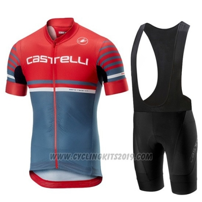 2019 Cycling Jersey Castelli Free AR 4.1 Red Gray Short Sleeve and Bib Short