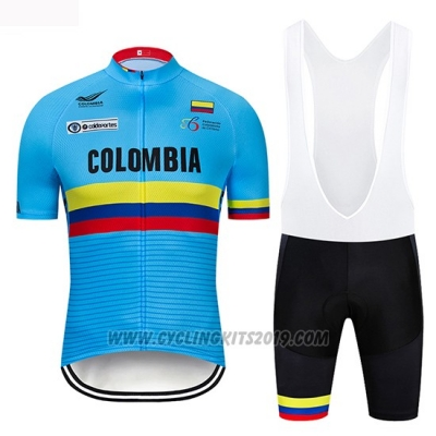 2019 Cycling Jersey Colombia Blue Short Sleeve and Bib Short