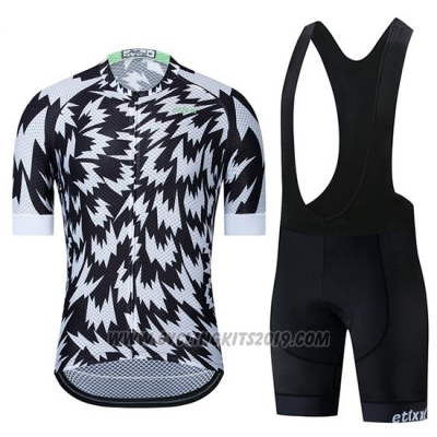 2019 Cycling Jersey Etixxl Black White Short Sleeve and Bib Short