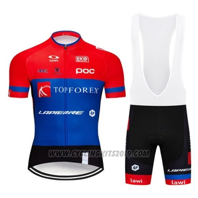 2019 Cycling Jersey Topforex Lapierre Red Blue Short Sleeve and Bib Short