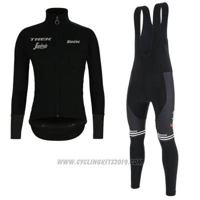 940349081 2019 Cycling Jersey Trek Segafredo Black Long Sleeve and Bib Tight