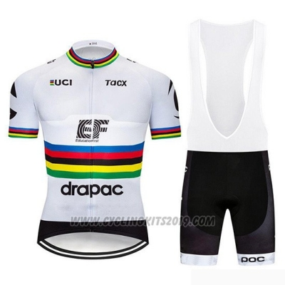 2019 Cycling Jersey UCI World Champion Ef Education First White Short Sleeve and Bib Short